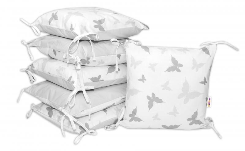 Bavlnený vankúšikový mantinel Baby Nellys, Motýliky - sivý