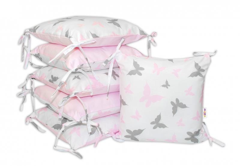 Bavlnený vankúšikový mantinel Baby Nellys, Motýliky - ružový