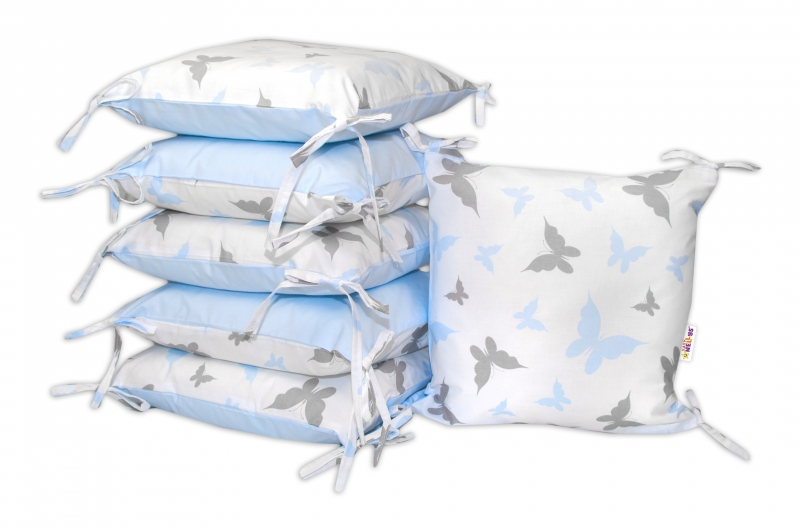 Bavlnený vankúšikový mantinel Baby Nellys, Motýliky - modrý
