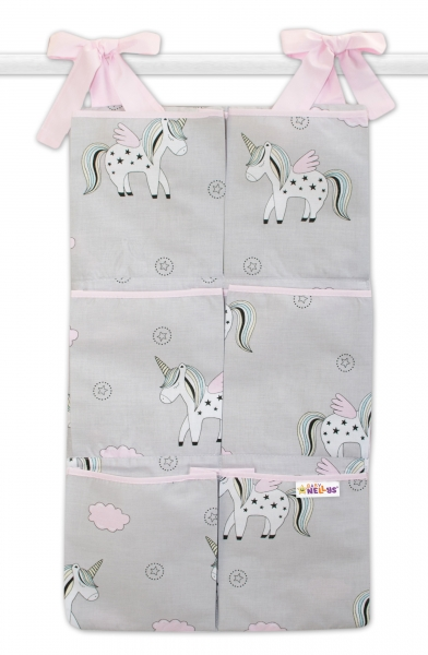 Bavlnený vreckár na postieľku Baby Nellys 6 vreciek, Jednorožec - sivý/ružový