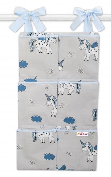 Bavlnený vreckár na postieľku Baby Nellys 6 vreciek, Jednorožec - sivý/modrý