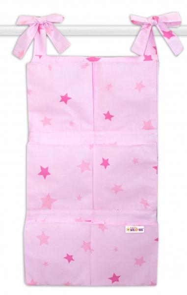 Bavlnený vreckár na postieľku Baby Nellys 6 vreciek, Hviezdičky - ružové