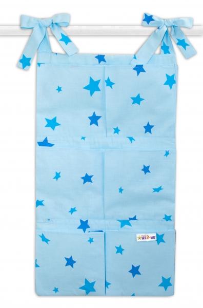 Bavlnený vreckár na postieľku Baby Nellys 6 vreciek, Hviezdičky - modré