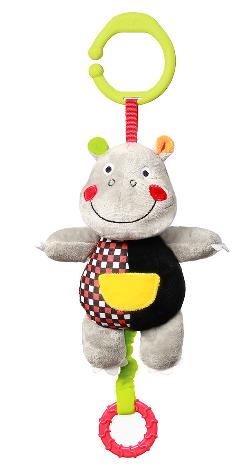 BabyOno Závesná plyšová hračka s melódiou Hrošík Albert, 16 cm