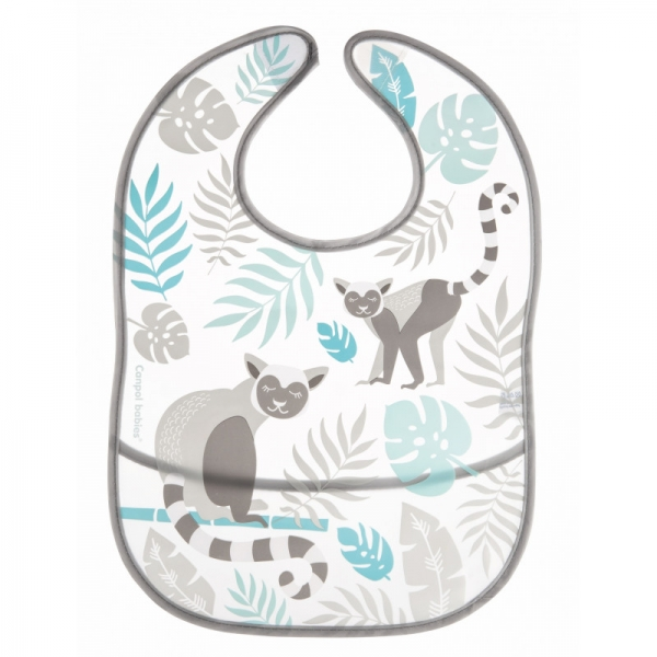 Canpol babies Plastový podbradník s vreckom Jungle - sivá