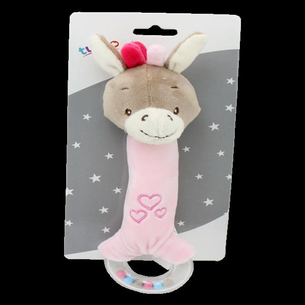 Plyšová hračka Tulilo s pískátkem a hrkálkou Oslík, 21 cm - ružový