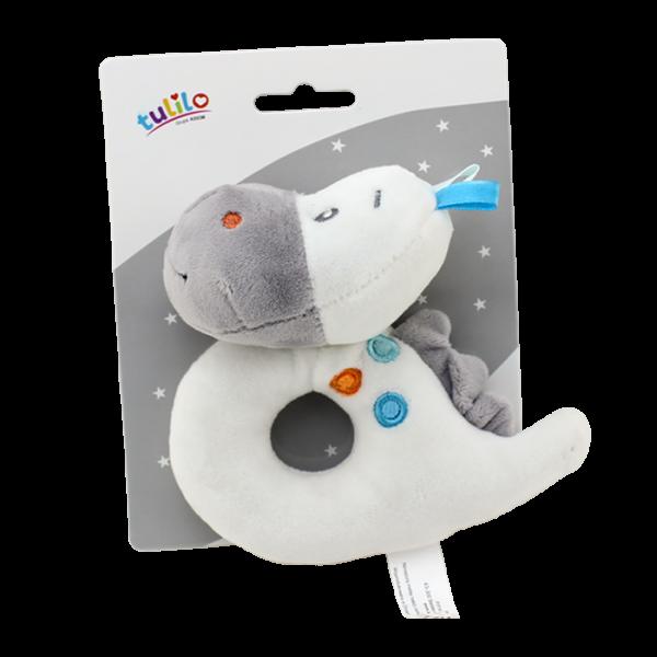 Plyšová hračka Tulilo s hrkálkou Dino, 13 cm - biela