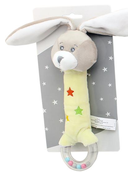 Plyšová hračka Tulilo s pískátkem a hrkálkou Zajačik, 20 cm - žltý