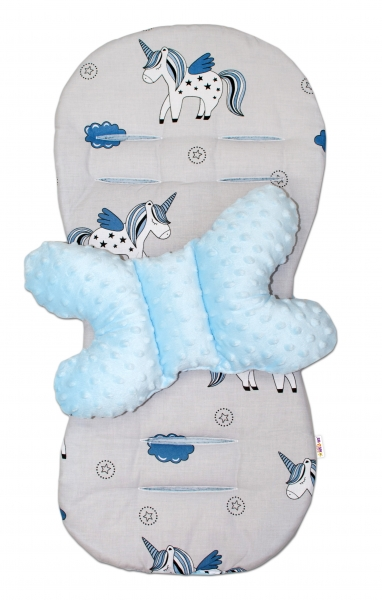 Sada do kočíka Baby Nellys Minky Jednorožec - podložka + vankúšik - modrá/sivá