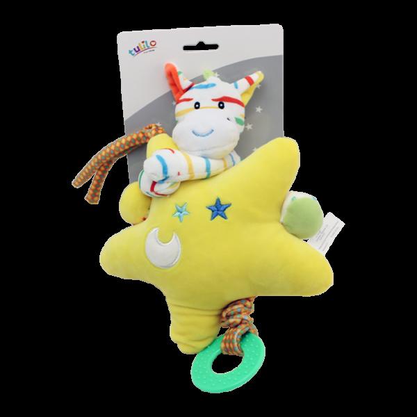 Závesná plyšová hračka Tulilo s melódiou Zebra s hviezdou, 22 cm - žltá