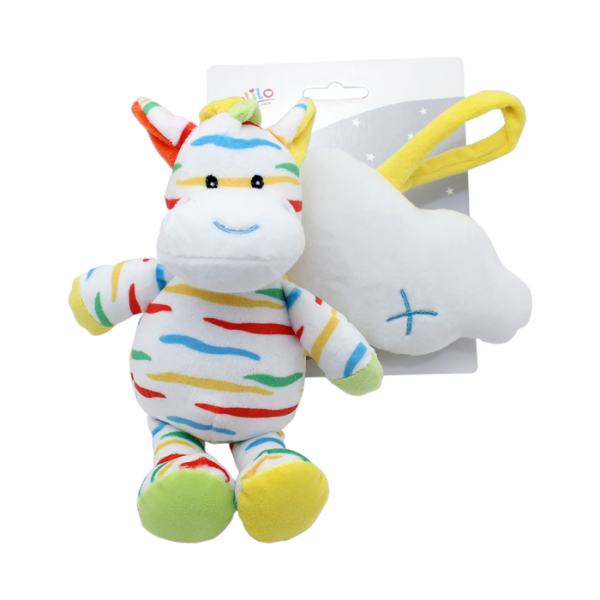 Závesná plyšová hračka Tulilo s melódiou Zebra s mráčikom, 35 cm - žlto/biela