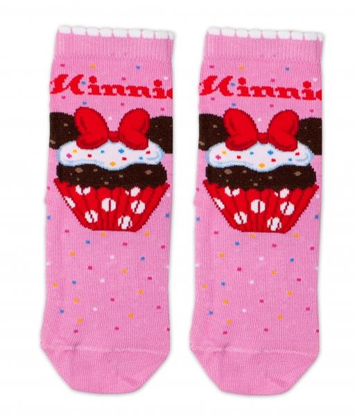 Bavlnené ponožky Disney Minnie Cupcake - tm. ružové, veľ. 27/30