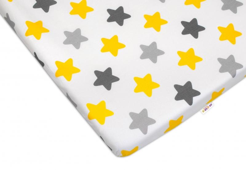 Baby Nellys Bavlnené prestieradlo - Farebné hviezdičky - žltá/sivá, 120x60 cm