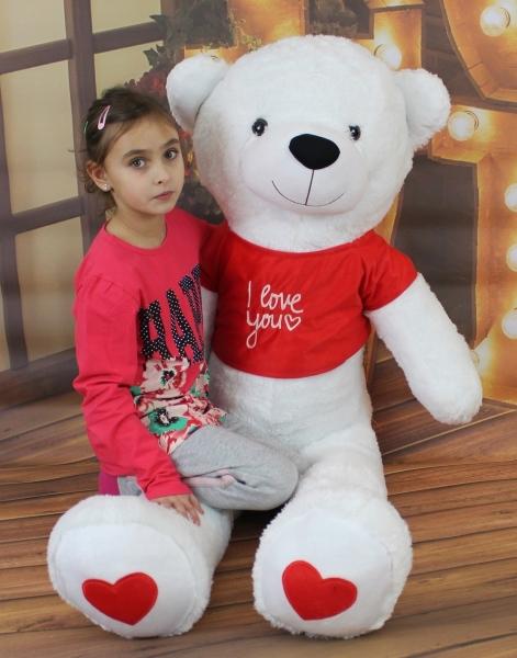AKCIA Baby Nellys Plyšový medveď 160 cm s tričkom I love - biely
