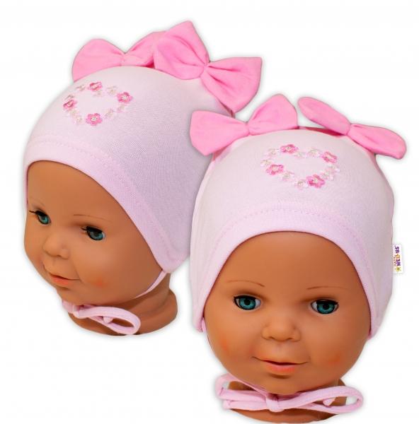 Bavlnená čiapočka na zaväzovanie Baby Nellys s mašličkami - sv. ružová, 40 - 42cm