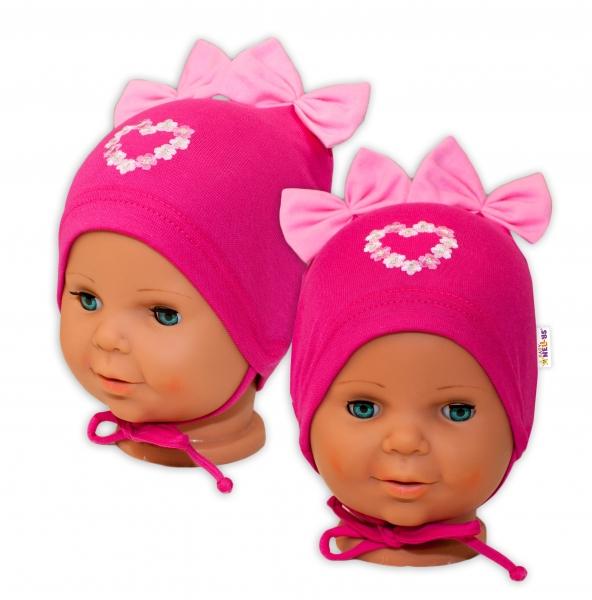 Bavlnená čiapočka na zaväzovanie Baby Nellys s mašličkami - tm. ružová, 44 - 48cm