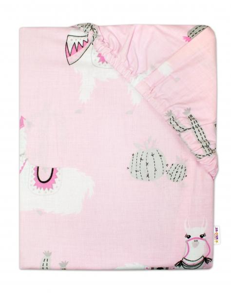 Baby Nellys Detské bavlnené prestieradlo do postieľky 140x70 cm - Lama - ružové-#Rozměry;140x70
