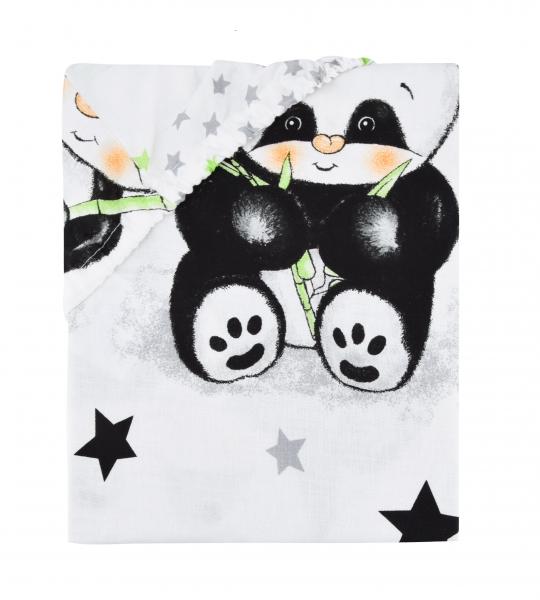 Baby Nellys Detské bavlnené prestieradlo do postieľky 140x70 cm - Panda - biela