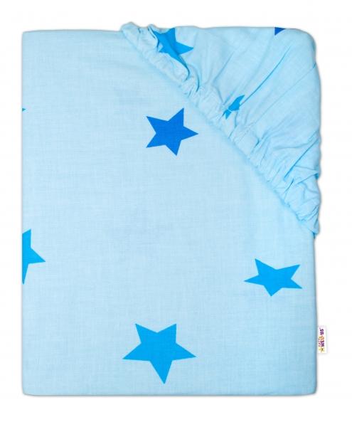 Baby Nellys Detské bavlnené prestieradlo do postieľky 140x70 cm - Hviezdičky modré