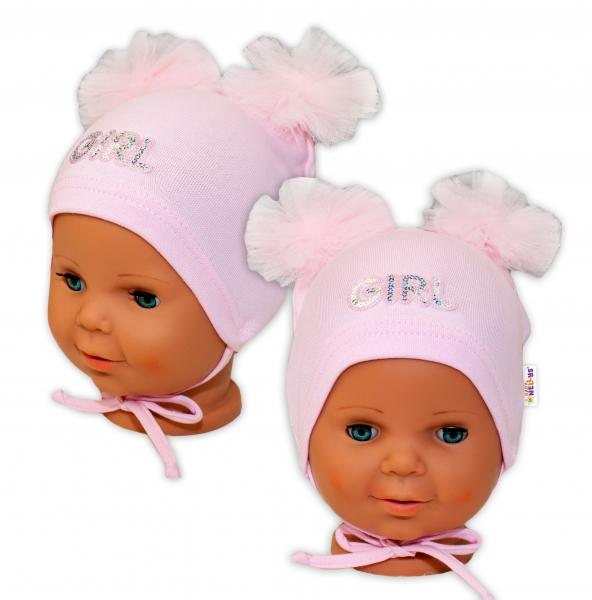 Bavlnená čiapočka na zaväzovanie Baby Nellys s mašličkami Tutu - sv. ružová, veľ. 40 -42cm-44/48 čepičky obvod