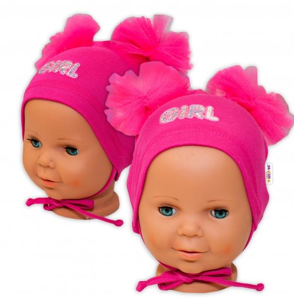 Bavlnená čiapočka na zaväzovanie Baby Nellys s mašličkami Tutu - tm. ružová, 44 - 48cm
