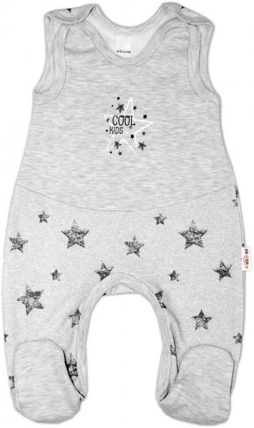 Dojčenské bavlnené dupačky ZBaby, Cool Kids - sivé, velˇ. 74