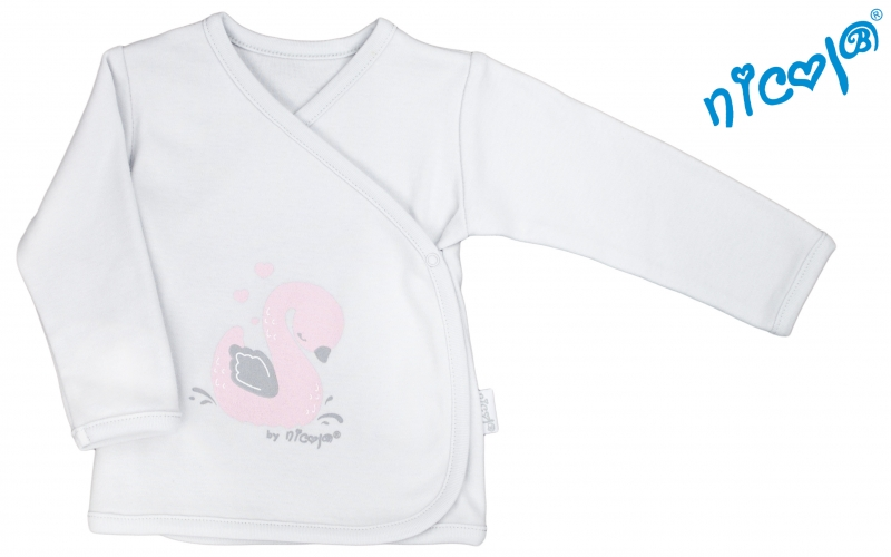 Novorodenecká košieľka Nicol, Baletka - zapínanie bokom - sivá, veľ. 62-62 (2-3m)