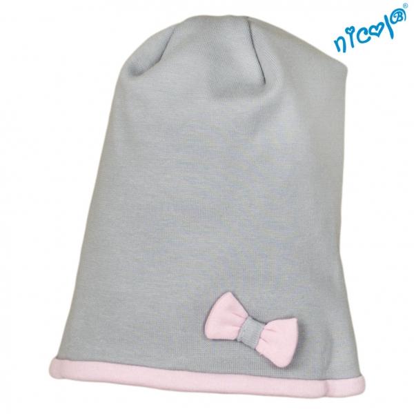 Dojčenská čiapočka Nicol, Baletka - sivo/růžová, veľ. 122/128-122/128