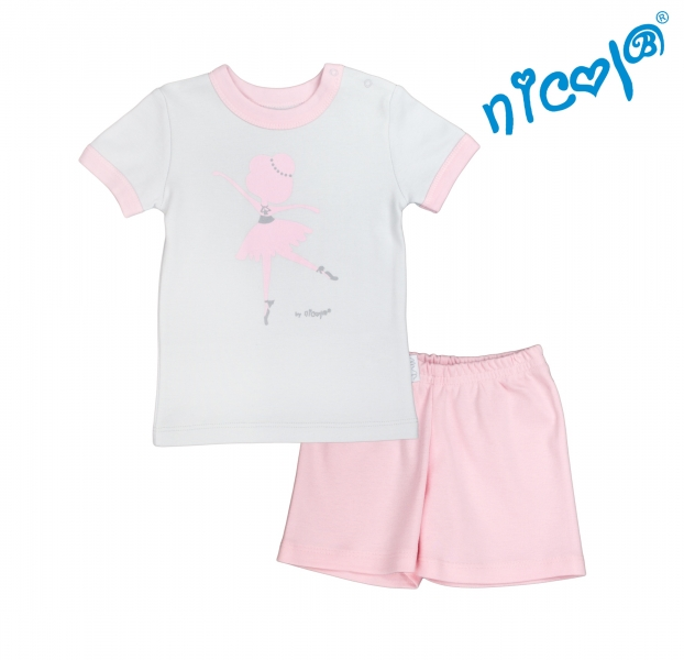 Detské pyžamo krátke Nicol, Baletka - sivo/ružové, veľ. 122-122