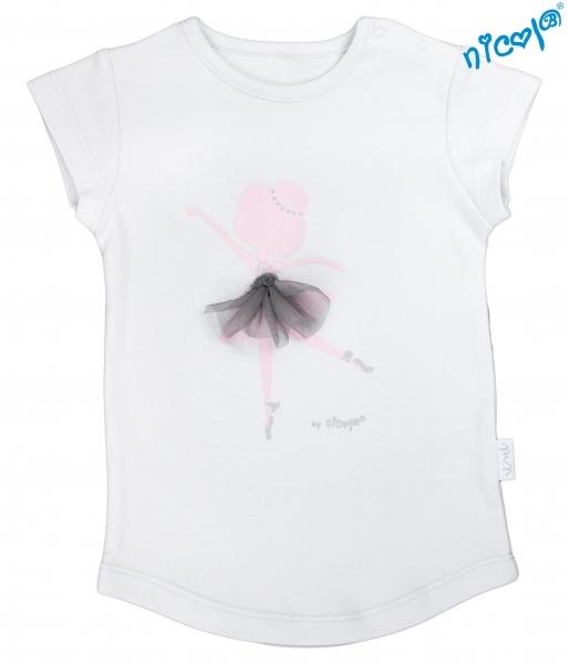 Bavlnené tričko Nicol, Baletka - krátky rukáv, sivé, veľ. 128