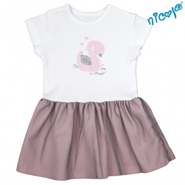 Dojčenské šaty Nicol, Baletka - sivá/vínová-56 (1-2m)
