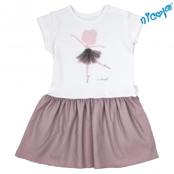 Dojčenské šaty Nicol, Baletka - sivá/vínová,-86 (12-18m)