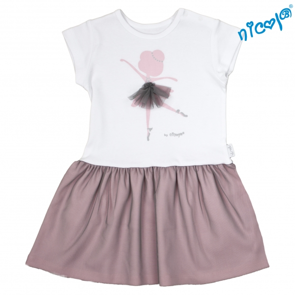 Dojčenské šaty Nicol, Baletka - sivá/vínová, veľ. 92-92 (18-24m)