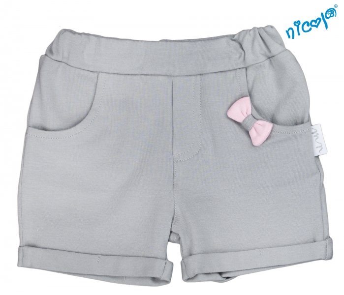 Dojčenské kraťasy Nicol, Baletka - sivé-56 (1-2m)