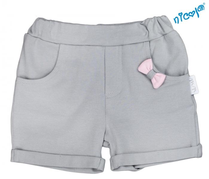 Dojčenské kraťasy Nicol, Baletka - sivé, veľ. 74-74 (6-9m)