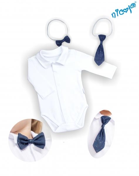 Body dlhý rukáv s kravatou a motýlikom Nicol, Elegant boy - biele, veľ. 62