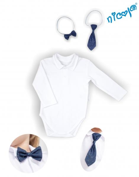 Body dlhý rukáv s kravatou a motýlikom Nicol, Elegant boy - biele, veľ. 86
