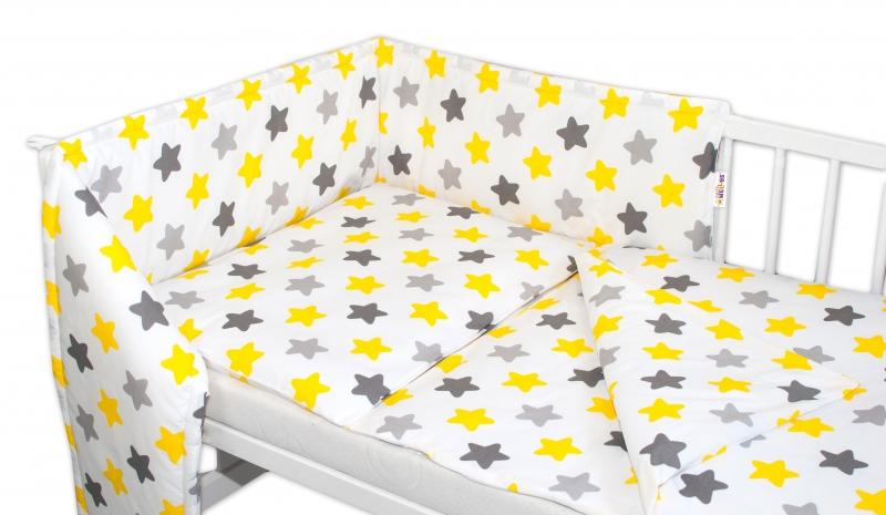 Baby Nellys Mantinel s obliečkami Farebné hvezdičky - žlté/sivé, 135x100