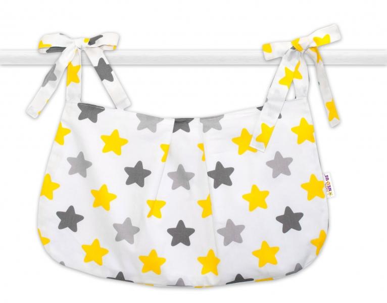 Baby Nellys Vreckár na hračky Farebné hviezdičky - žlté/sivé