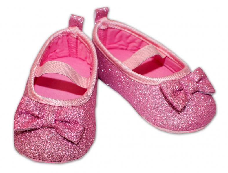 YO! Dojčenské topánky /capáčky brokátové s mašličkou - ružové-0/6 měsíců