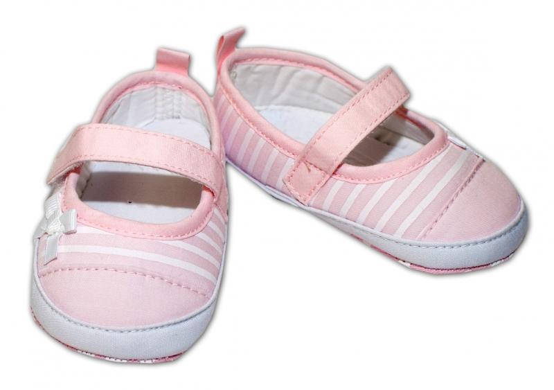 YO! Dojčenské topánky /capáčky biely průžek - sv. růžové-0/6 měsíců