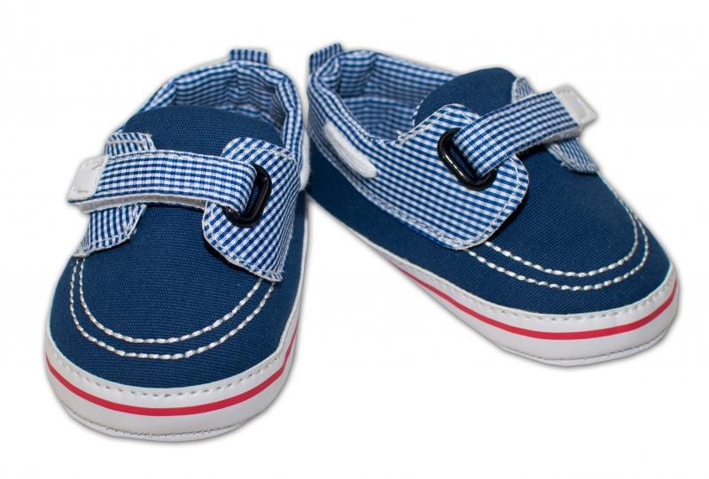 YO! Dojčenské topánky /capáčky námorníckej - modré s kockami, 6-12 mesiacov