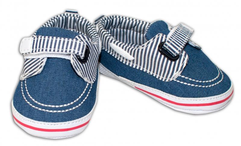 YO! Dojčenské topánky /capáčky námornícke - jeans s průžkami-0/6 měsíců