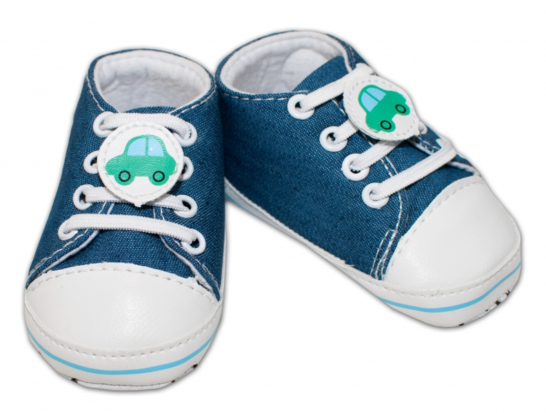 YO! Dojčenské topánky /capáčky s autíčkom - jeans-0/6 měsíců