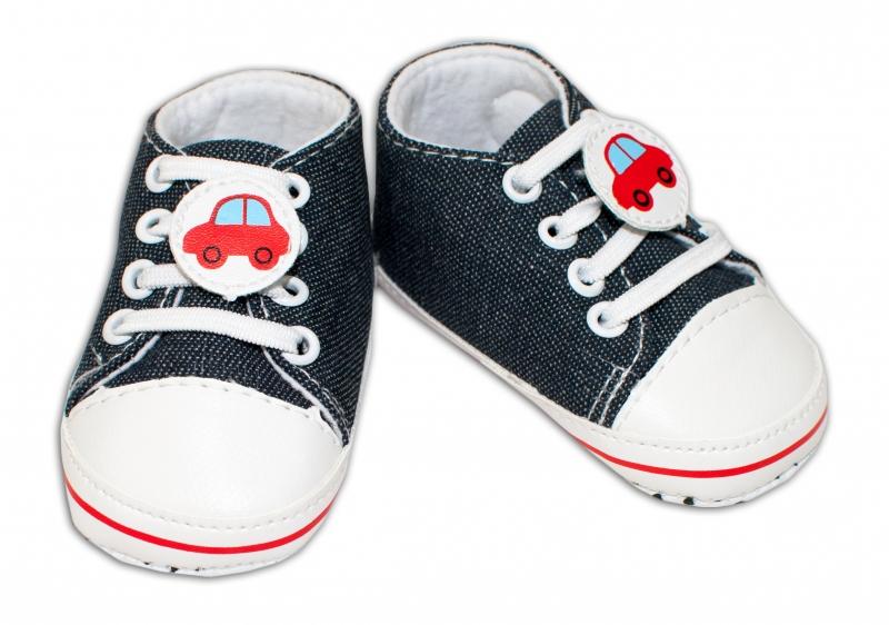 YO! Dojčenské topánky /capáčky s autíčkom - grafitové, 6-12 mesiacov