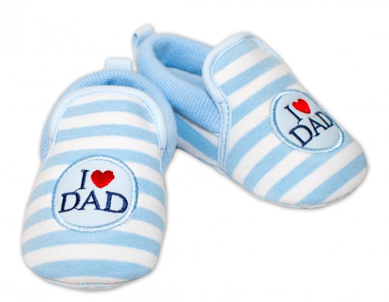 YO! Dojčenské topánky /capáčky I love Dad - modré-0/6 měsíců