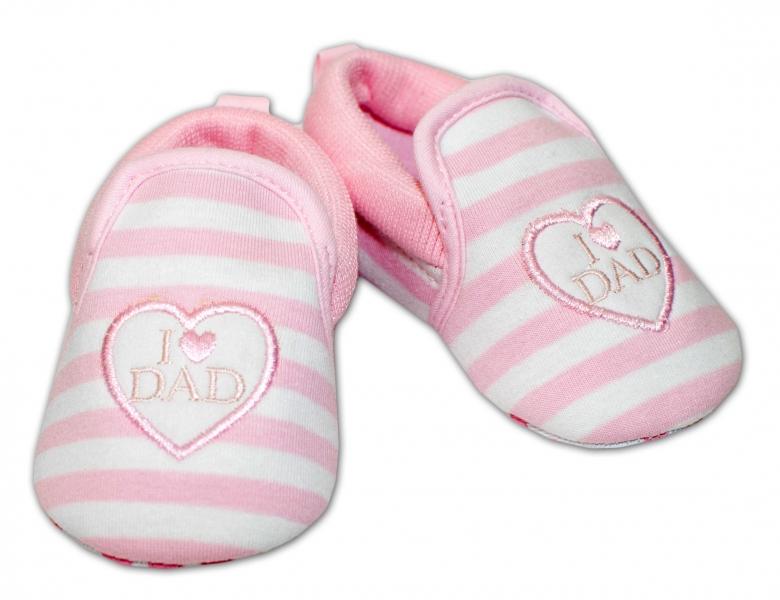 YO! Dojčenské topánky /capáčky I love Dad - růžové, 6-12 mesiacov