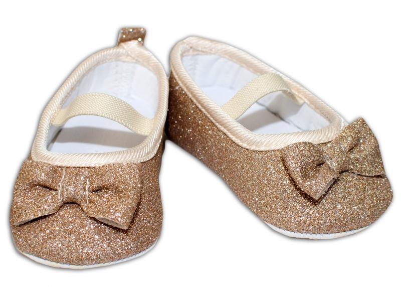 YO! Dojčenské topánky /capáčky brokátové s mašličkou - zlaté, 6-12 mesiacov