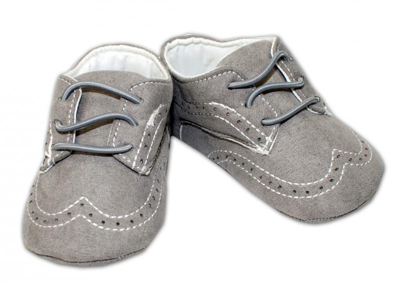 YO! Dojčenské topánky /capáčky prešívané - sivé-0/6 měsíců