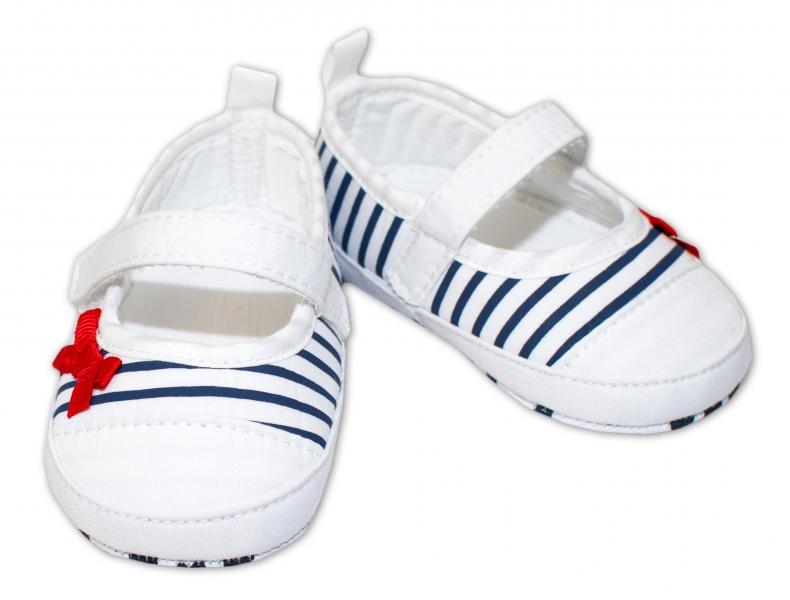 YO! Dojčenské topánky /capáčky granátový průžek - biele-0/6 měsíců